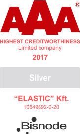 "A A A HIGHEST CREDITWORTHINESS ""ELASTIC"" Kft. 10549692-2-20 R Limited company Silver 2017 Bisnode"